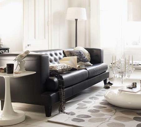 Decoraci n ideas para decorar tu salon en blanco y negro - Salones con sofa negro ...