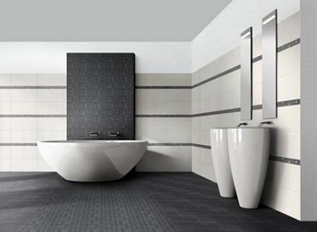 Azulejos negros para cuartos de ba os decoraci n - Azulejos cuartos de bano pequenos ...