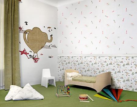 Decoraci n tres tintas papeles pintados infantiles for Decoracion infantil leroy merlin