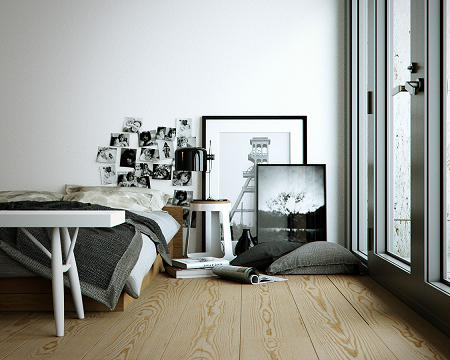 Decoraci n dormitorio en blanco negro y madera - Decorar en blanco y madera ...
