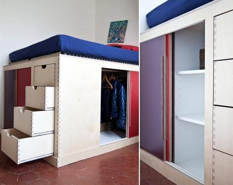 Fotos de vestidores peque os para aprovechar el espacio - Armario bajo cama ...