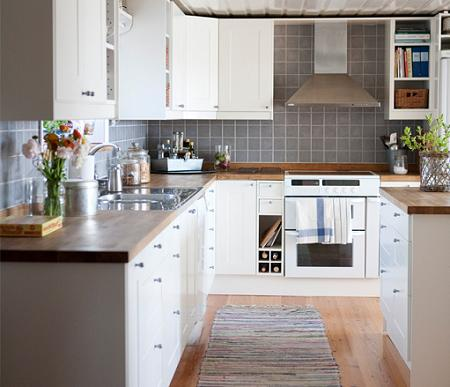 Cocinas en blanco y madera decoraci n - Cocinas blancas ikea ...