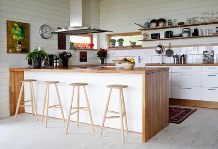 Cocinas en blanco y madera decoraci n - Cocina encimera madera ...