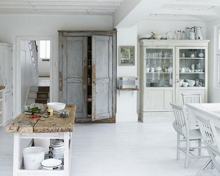 Cocinas blancas decoraci n - Cocina rustica blanca ...