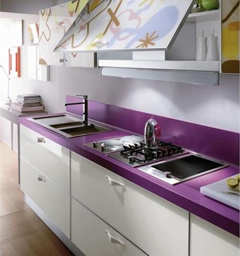 También podemos por utilizar el violeta solo en la encimera  Esta ha