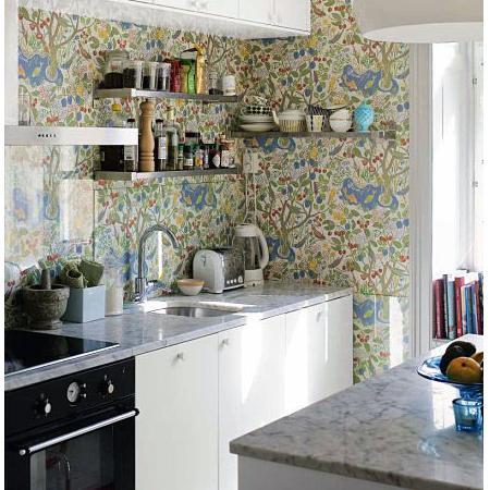 Papel pintado para cocinas decoraci n for Papel vinilico cocina