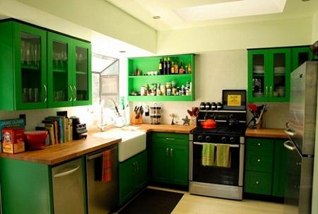 15 cocinas de color verde