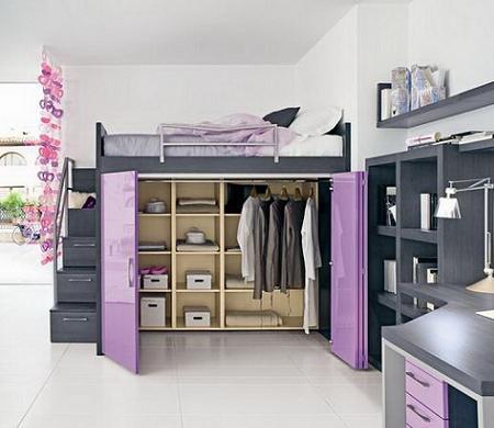 Decoraci n decoraci n de habitaciones juveniles la cama alta - Camas con escritorio debajo ...
