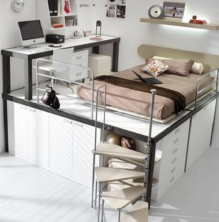 Decoraci n dormitorios infantiles a varias alturas - Cama litera con escritorio debajo ...