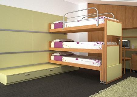 Ejemplo de dormitorio infantil para tres bien resuelto - Literas para ninos pequenos ...
