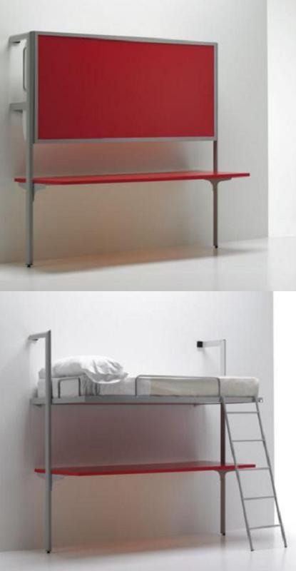 Decoraci n 14 camas plegables para ahorrar espacio en el - Literas con escritorio debajo ...