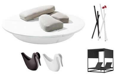 muebles de exterior en blanco y negro