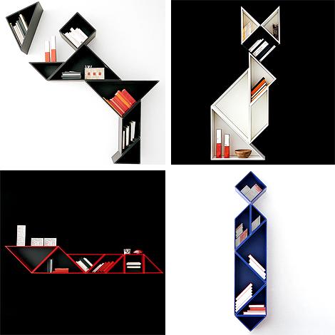 Decoración Estantería de diseño con piezas de Tangram