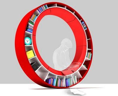Estanter a de dise o circular con asiento ideal para los for Asiento con almacenaje