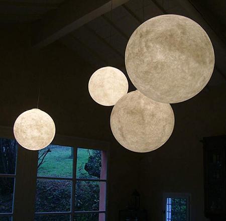 Lámpara que parece una luna llena