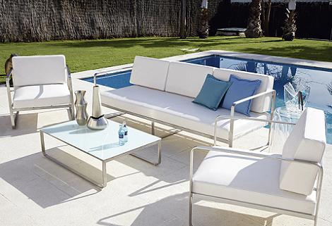 Muebles de exterior 2013 decoraci n for Sofa exterior aluminio blanco