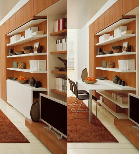 Mueble plegable librer a comedor y cama decoraci n for Mueble pequeno salon
