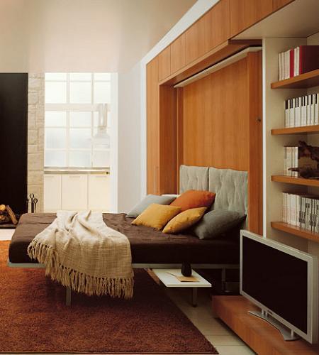 Mueble plegable librer a comedor y cama decoraci n for Mueble cama plegable conforama