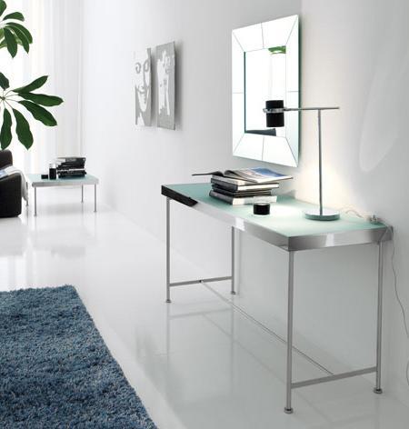 Decoraci n consola de dise o espejo un hall muy sofisticado for Espejos de diseno para entradas