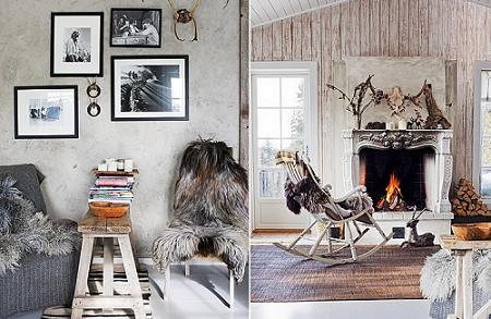 Salón rústico de inspiración animal