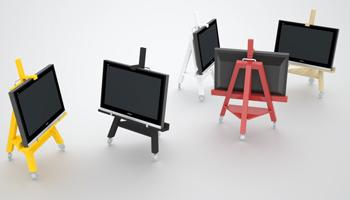 Mueble tv easel un caballete para la televisi n decoraci n for Muebles television con ruedas