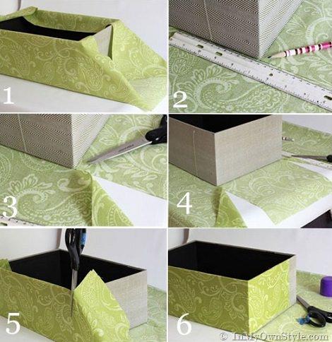 como forrar una caja grande con papel imagui