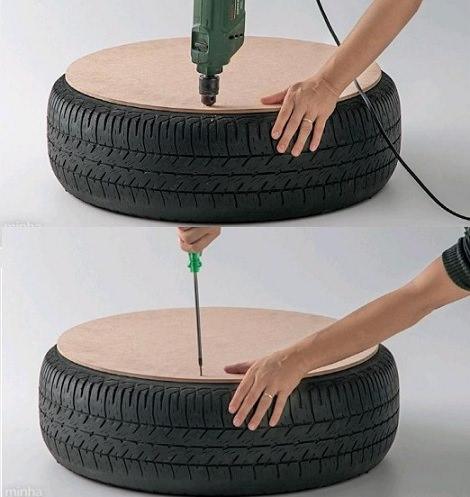 Paso a paso c mo hacer un puff con una rueda decoraci n - Como hacer un puff de trapillo ...