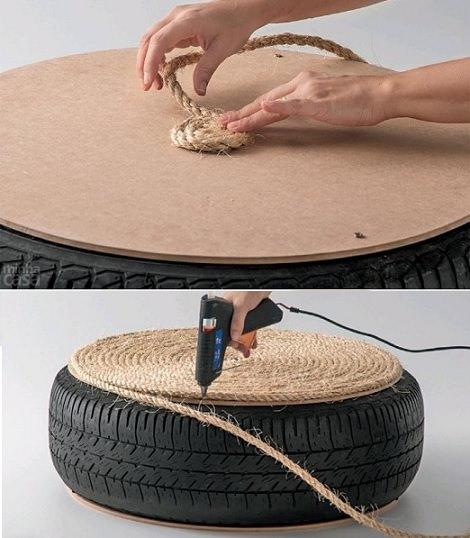 Paso a paso c mo hacer un puff con una rueda decoraci n - Como rellenar un puff ...
