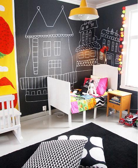 Habitación infantil de pizarra