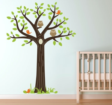Vinilos decorativos con b hos para dormitorios infantiles for Pegatinas pared arbol infantil