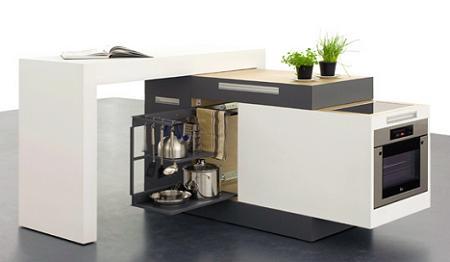 Cocina compacta y extensible para espacios reducidos