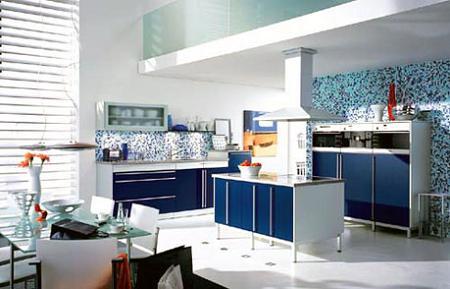 15 cocinas en color azul
