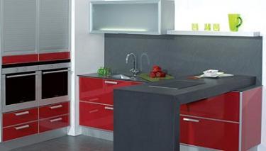 cocina roja de diseño de Bossia