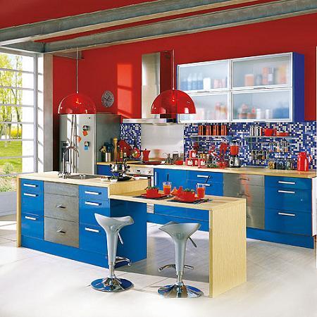 Cocina azul de Leroy Merlin