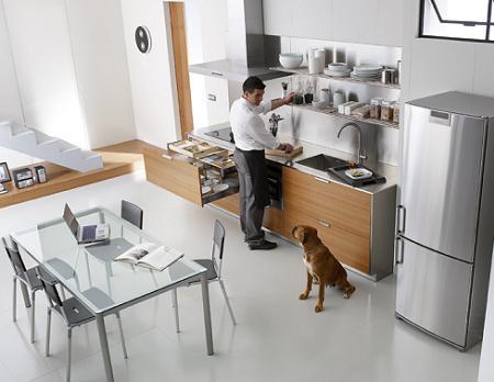 Cocina de teca y aluminio