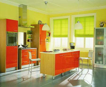 Estores verdes para la cocina