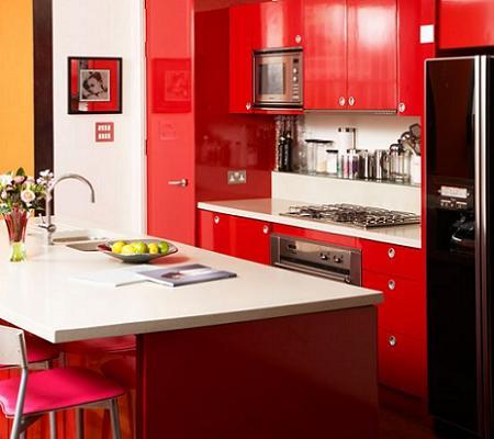 Cocina roja pequeña