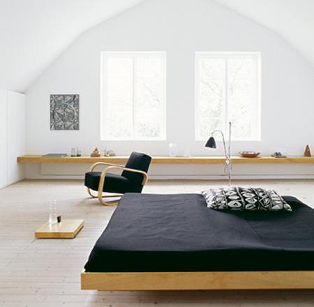 Dormitorio en blanco y madera