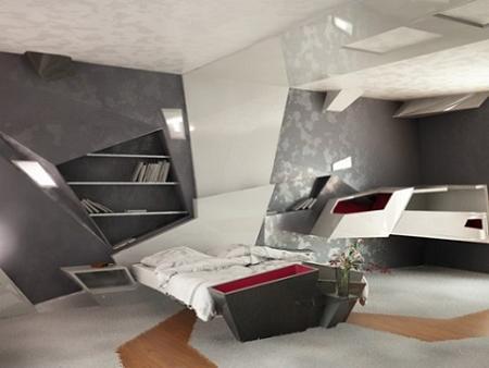 Dormitorio de estilo futurista