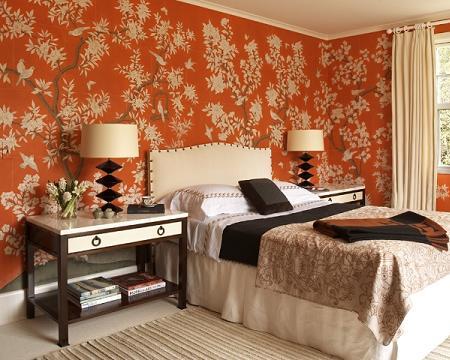 Dormitorio clásico naranja