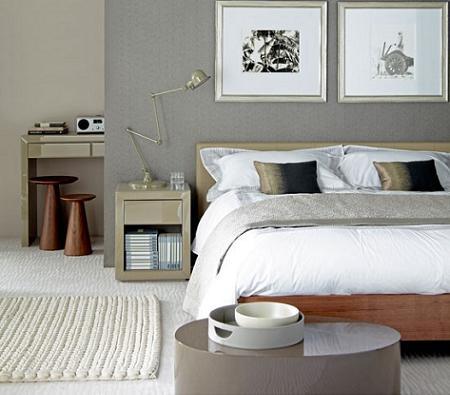 Dormitorio de color gris