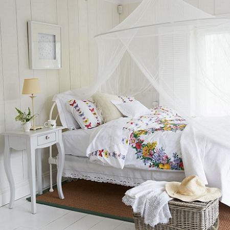 Dormitorio blanco rústico