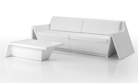 Muebles de jardín minimalistas: sofá, mesa de centro, tumbona,...