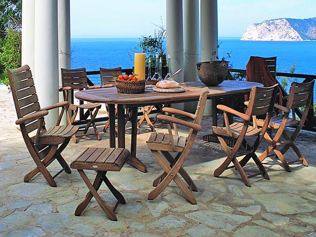 conjunto mesa y sillas en teca