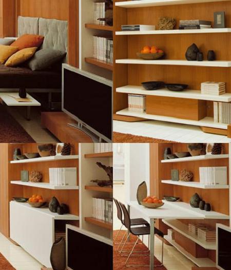 Mueble plegable: librería, comedor y cama