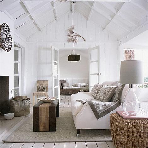 Salón blanco rústico