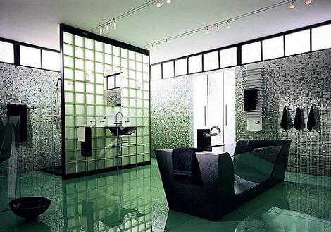 Baño contemporáneo verde