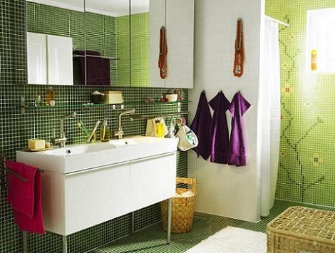 Foto baño verde y blanco