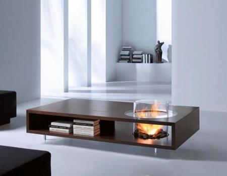 8 mesas de centro que integran una chimenea decoraci n - Chimenea de mesa ...