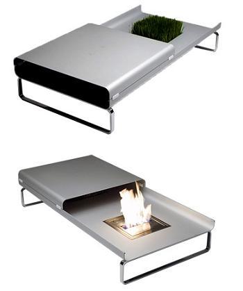 chimenea de diseño, mesa de cafe Fire&Ice de Ecosmart Fire